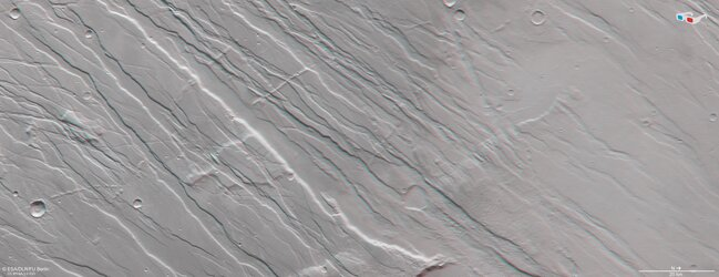 3D view of Tempe Fossae on Mars