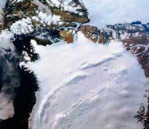 Northwest Greenland is featured in this icy image captured by the Copernicus Sentinel-3 mission.