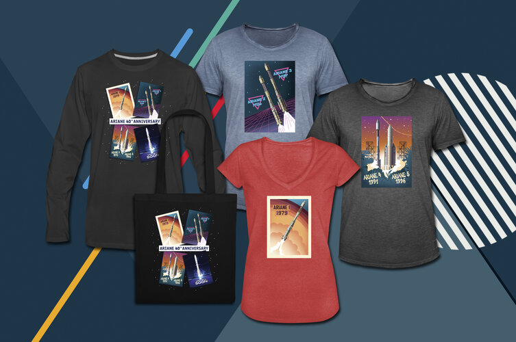 Go retro with t-shirts, posters, mug and tote bag celebrating 40 years of Ariane rockets with the ESA On Demand new collection.