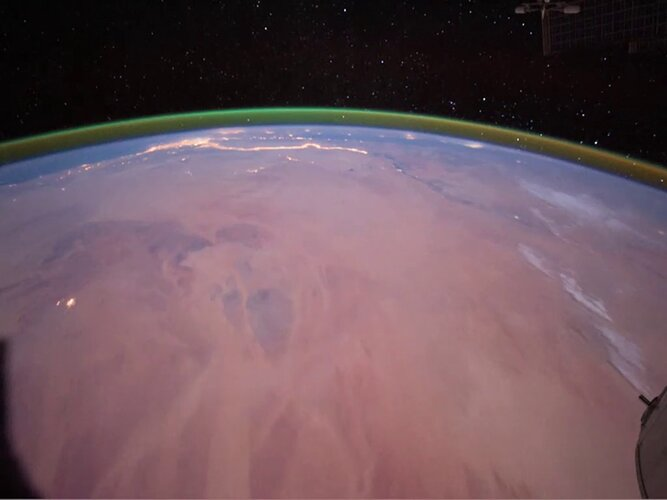 Airglow in Earth's atmosphere observed from the International Space Station