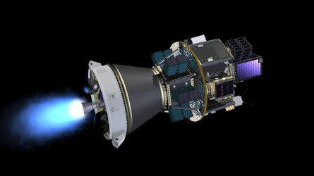 Artist's view of Vega flight VV16 with the Small Spacecraft Mission Service (SSMS) dispenser