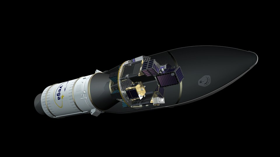 Artist's view of Vega flight VV16 with the Small Spacecraft Mission Service (SSMS) dispenser and SAT-AIS.