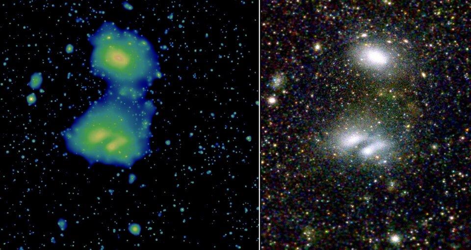 Το eRosita προβάλλει δύο αλληλεπιδρώντες συστάδες γαλαξιών, το A3391 και το A3395