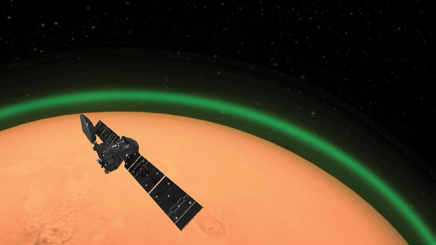 Artist's impression of the ExoMars Trace Gas orbiter spotting daylight green oxygen at Mars