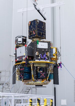 Vega's Small Spacecraft Mission Service (SSMS) dispenser with all satellites is mounted on the payload adapter at Europe's Spaceport.