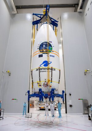 Vega's Small Spacecraft Mission Service (SSMS) dispenser holding 53 satellites is stowed inside Vega's fairing at Europe's Spaceport.