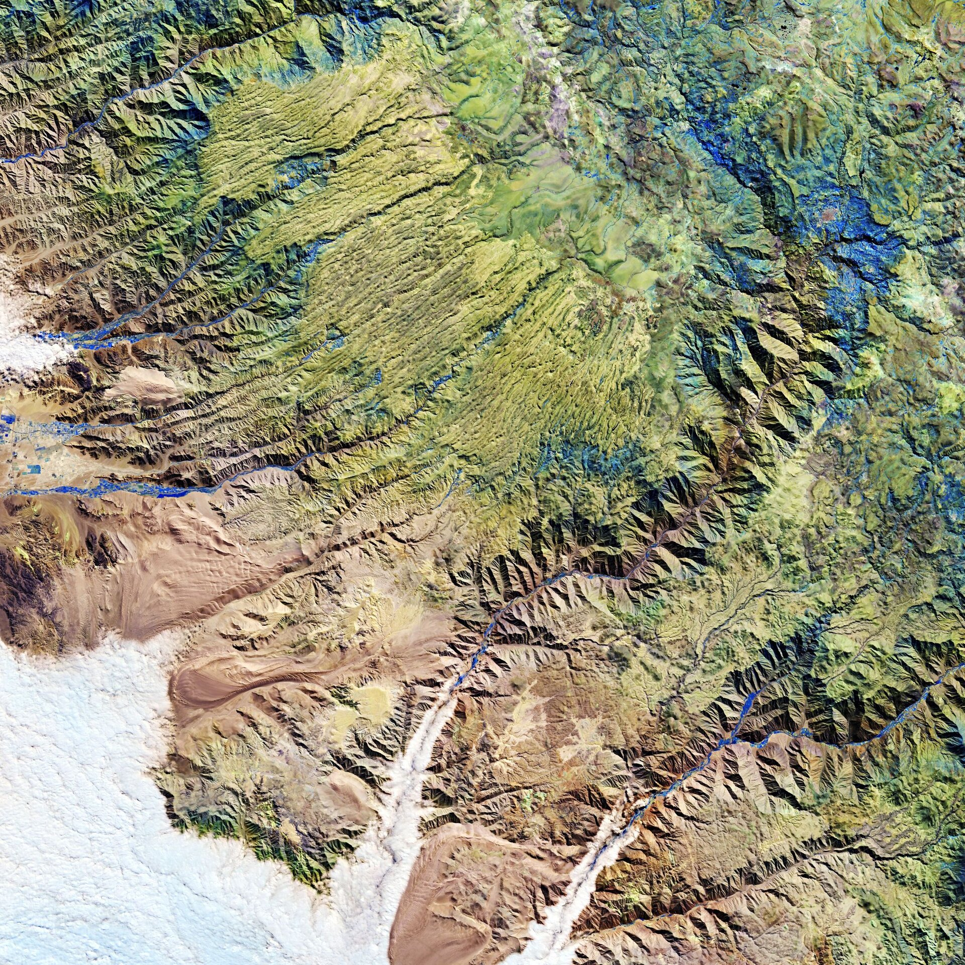 The Andes mountains, in southern Peru, are featured in this false-colour image captured by the Copernicus Sentinel-2 mission.