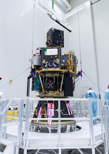 Vega's Small Spacecraft Mission Service (SSMS) dispenser with all satellites is mounted on the rocket's payload adapter at Europe's Spaceport.