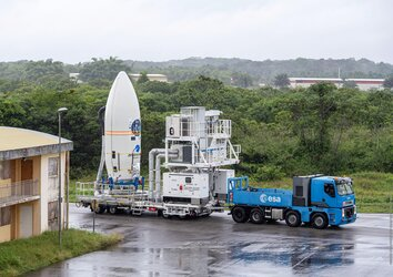 Vega's upper composite containing 53 satellites secured on the SSMS dispenser move to the launch zone for Europe's first rideshare mission.