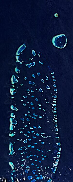 The Maldives are featured in this image captured by the Copernicus Sentinel-2 mission.