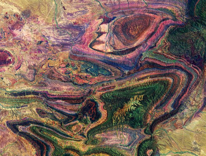 The many colourful curves and folds of the Flinders Ranges in South Australia are featured in this false-colour image captured by the Copernicus Sentinel-2 mission.