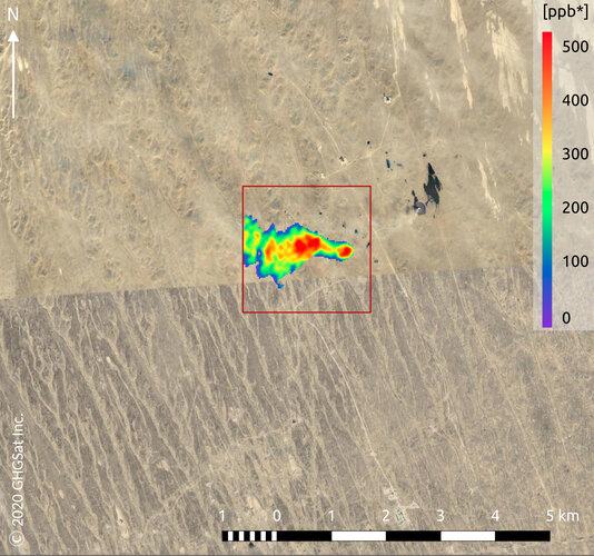 Methane plume from oil & gas infrastructure in the Caspian Sea region