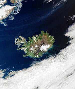 A rare, cloud-free view of Iceland is visible in this image captured by the Copernicus Sentinel-3 mission on 14 August 2020.