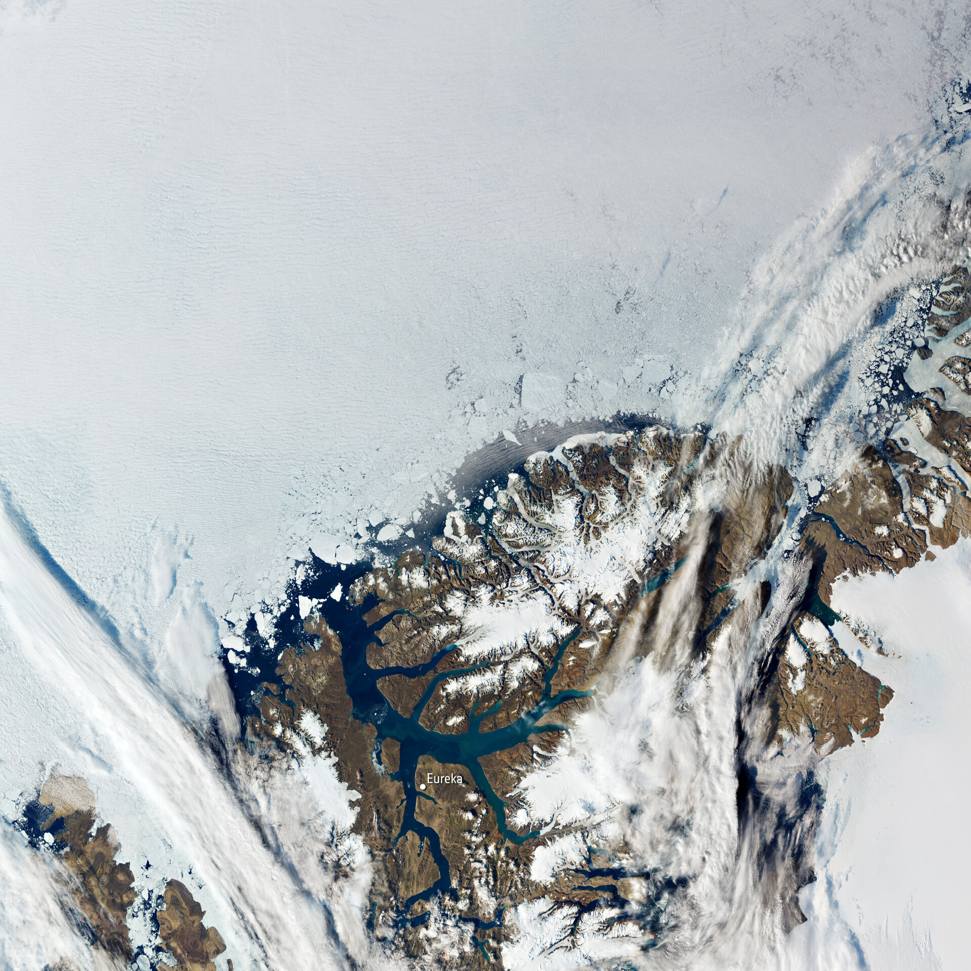 Captured on 11 August by the Copernicus Sentinel-3 mission, this image shows Eureka in the Canadian territory of Nunavut.