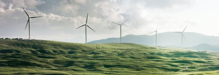 Wind turbines on a green hillside