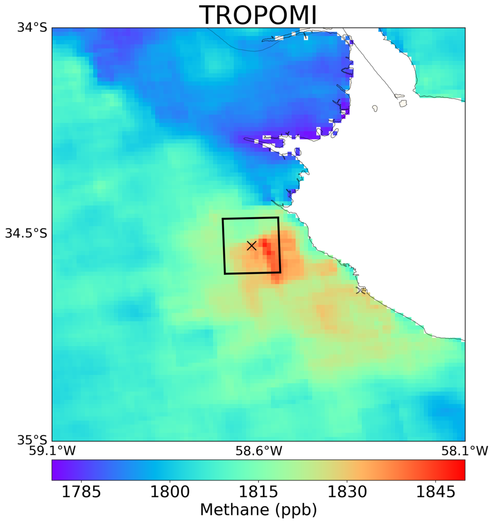 Averaged methane concentrations over Buenos Aires observed by Copernicus Sentinel-5P