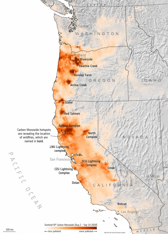 Monossido di carbonio dagli incendi della costa occidentale
