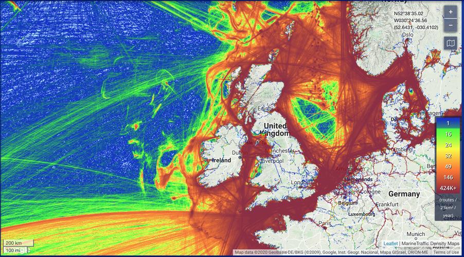 Maritime traffic around British Isles