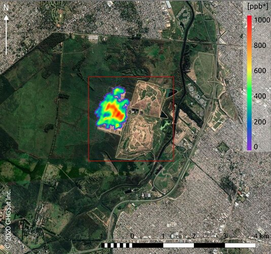 Methane from landfill site in Argentina