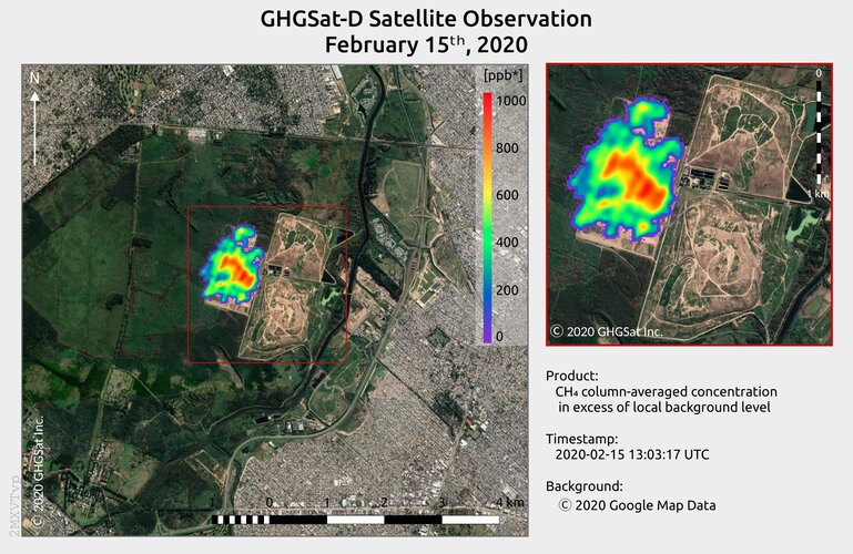 Methane from landfill site in Argentina imaged by GHGSat's Claire