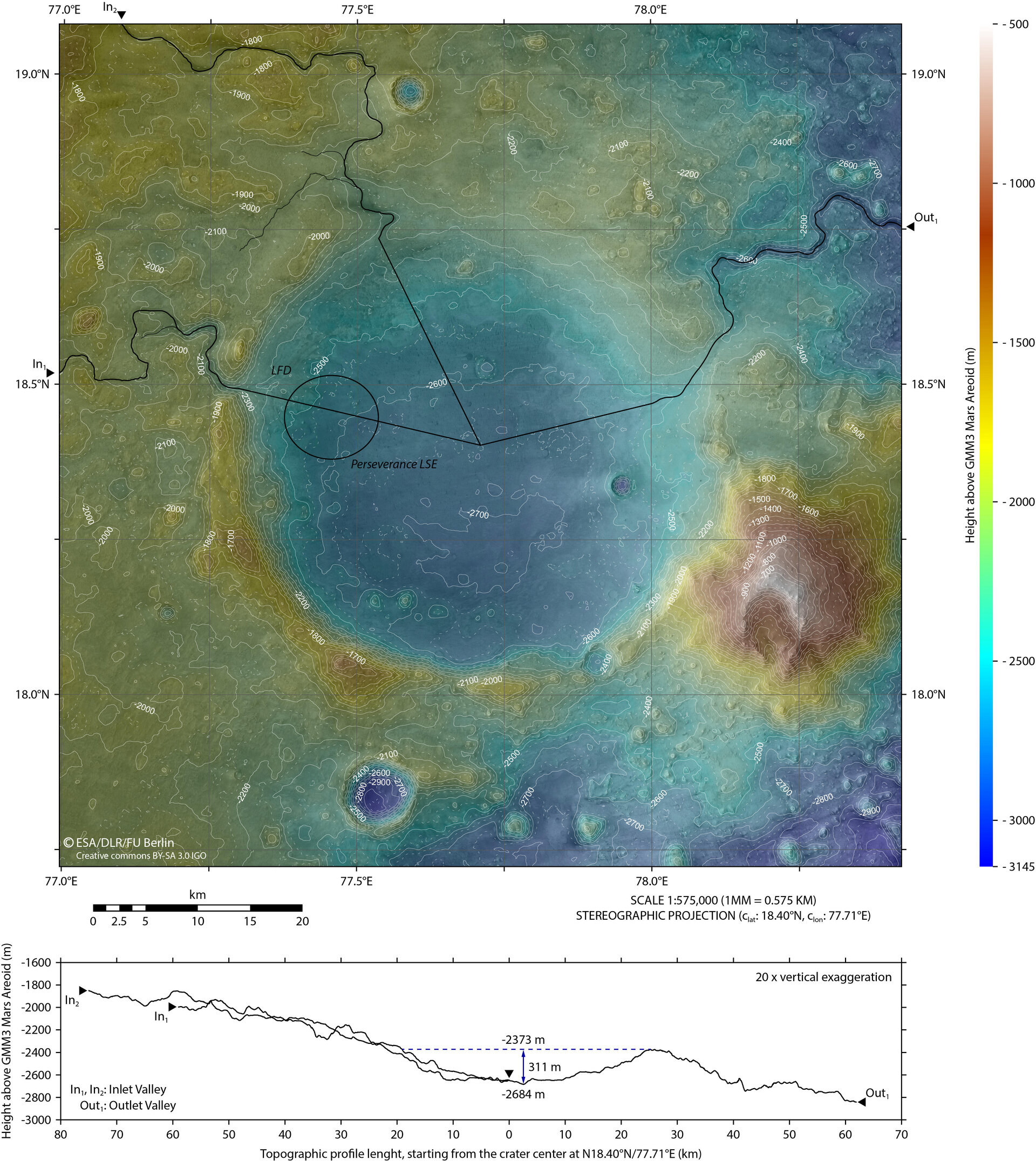 New topographic map of Jezero Crater – Mars 2020's future home