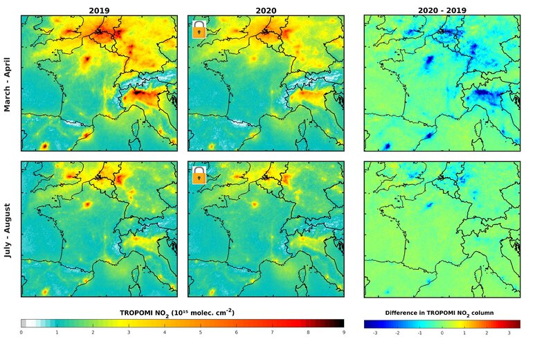 Nitrogen dioxide concentrations over Europe