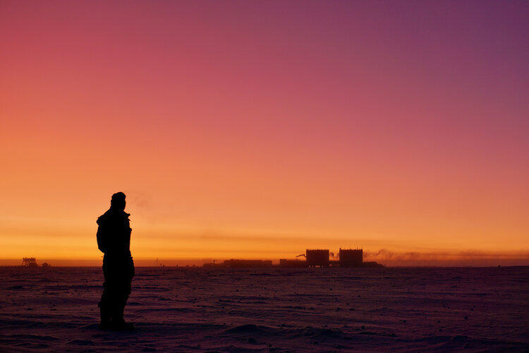 Red dawn in Antarctica