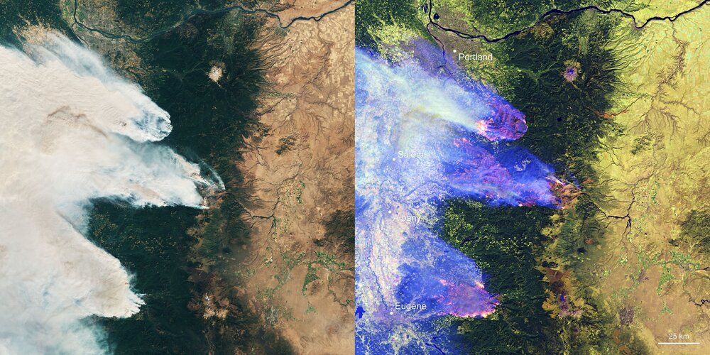 Wildfires over Oregon