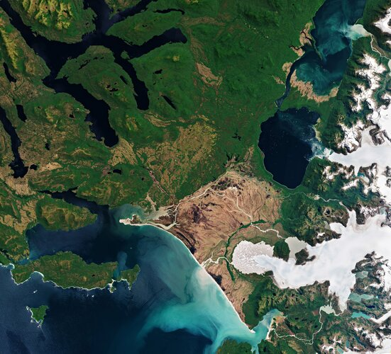 Part of the Laguna San Rafael National Park, located on the Pacific coast of southern Chile, is pictured in this image captured by Copernicus Sentinel-2.