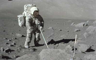Lunar dust clinging to spacesuit