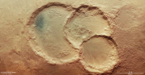 Mars Express spies an ancient triple crater on Mars