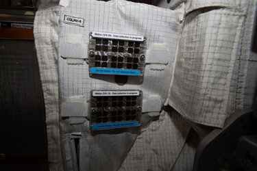 Two MatISS (Microbial Aerosol Tethering on Innovative Surfaces in the International Space Station) sample holders. The MATISS experiment investigates the antibacterial properties of various materials in space for possible application in future spacecraft. MATISS is expected to provide additional insight into the mechanisms of attachment of biofilms in microgravity conditions.