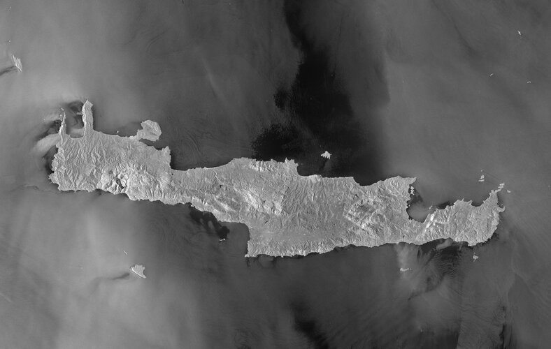 Greece's largest and most populous island, Crete, is featured in this image captured by the Copernicus Sentinel-1 mission.