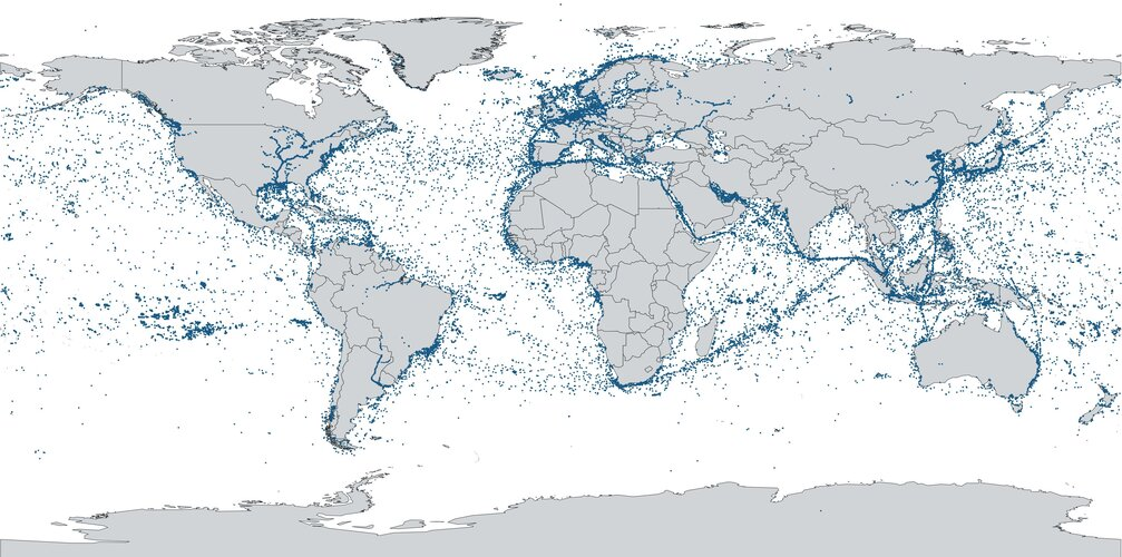 ESAIL's first map of global shipping