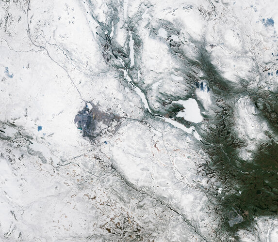 Kiruna, the northernmost town in Sweden, is featured in this snowy image captured by the Copernicus Sentinel-2 mission.