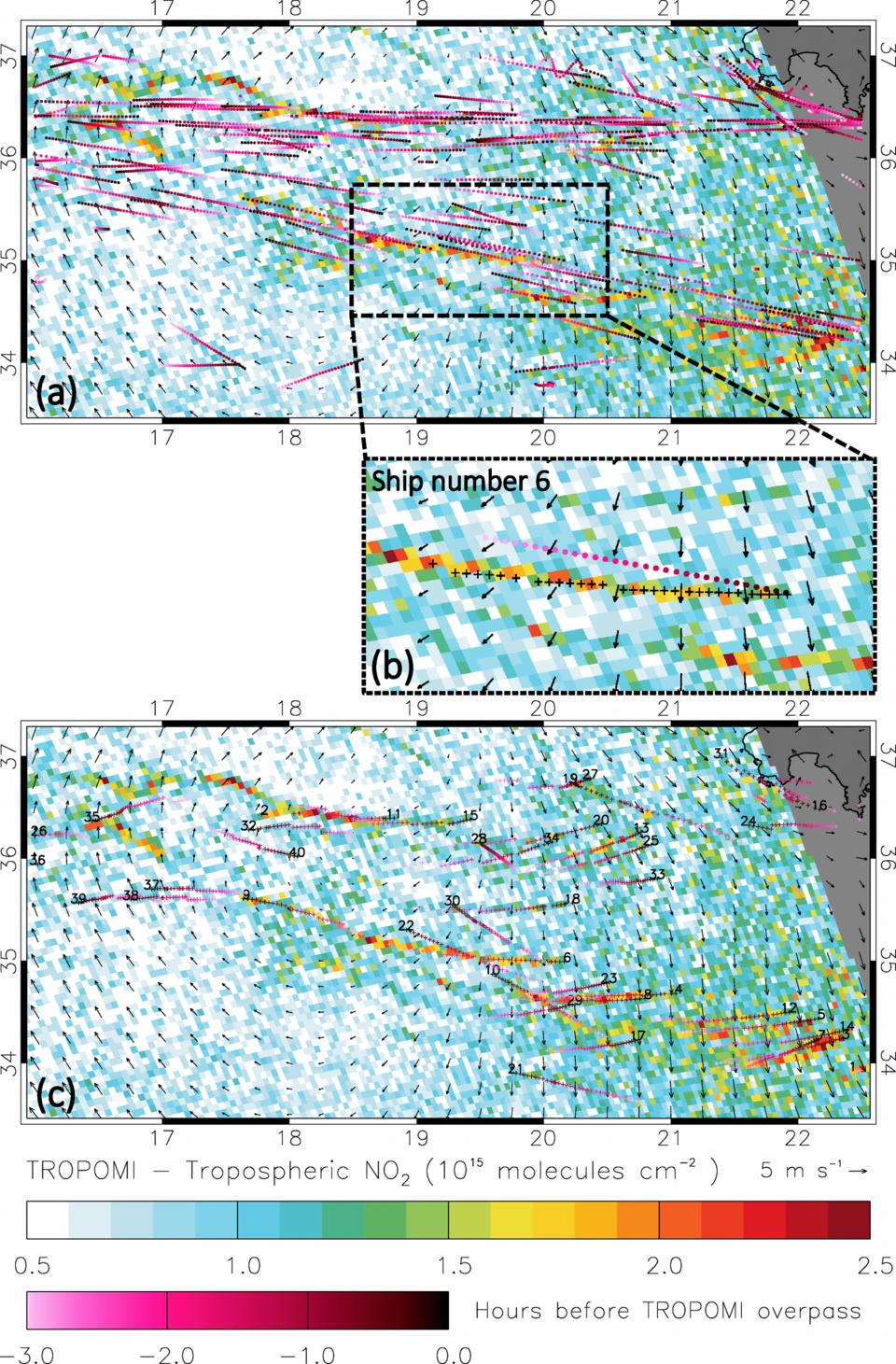 Nitrogen dioxide concentration patterns under sun glint conditions