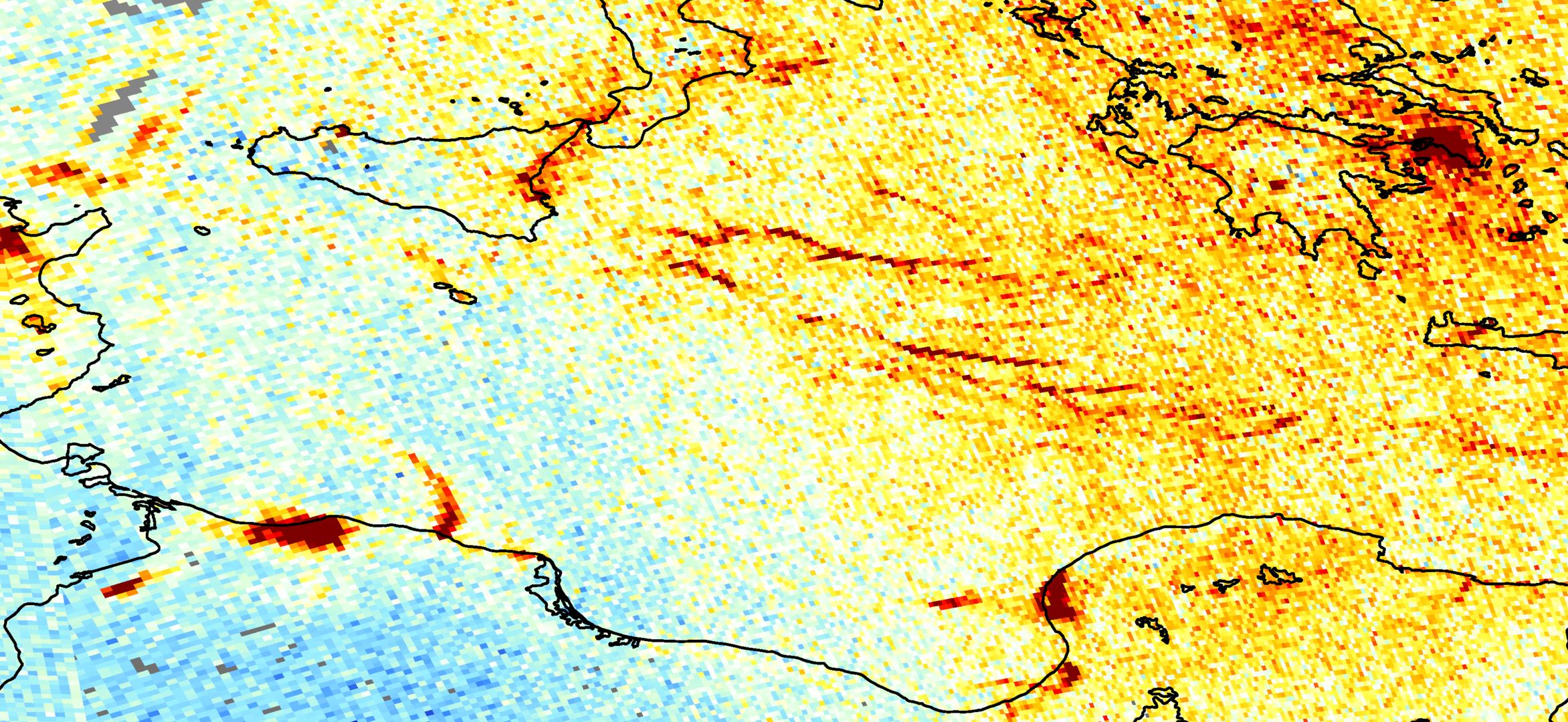 Nitrogen dioxide emissions over the Mediterranean