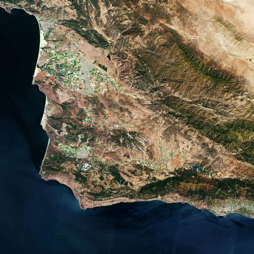 This Copernicus Sentinel-2 image features the Vandenberg Air Force Base, in California, where the Copernicus Sentinel-6 Michael Freilich satellite will soon launch from.
