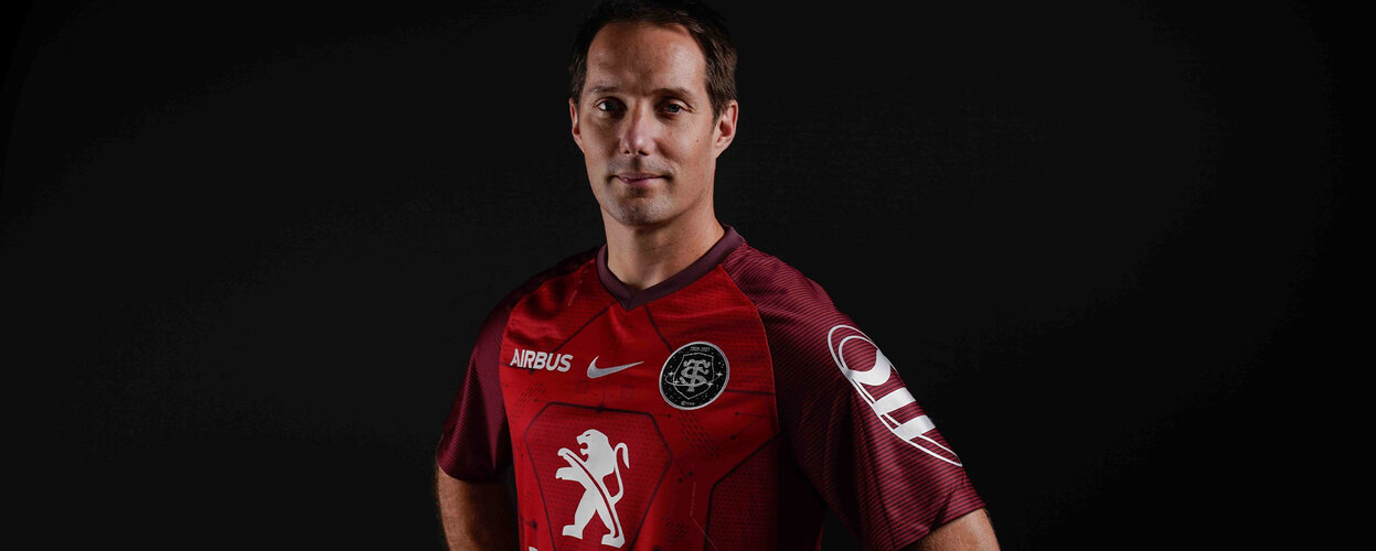 Thomas Pesquet in Stade Toulousain rugby shirt