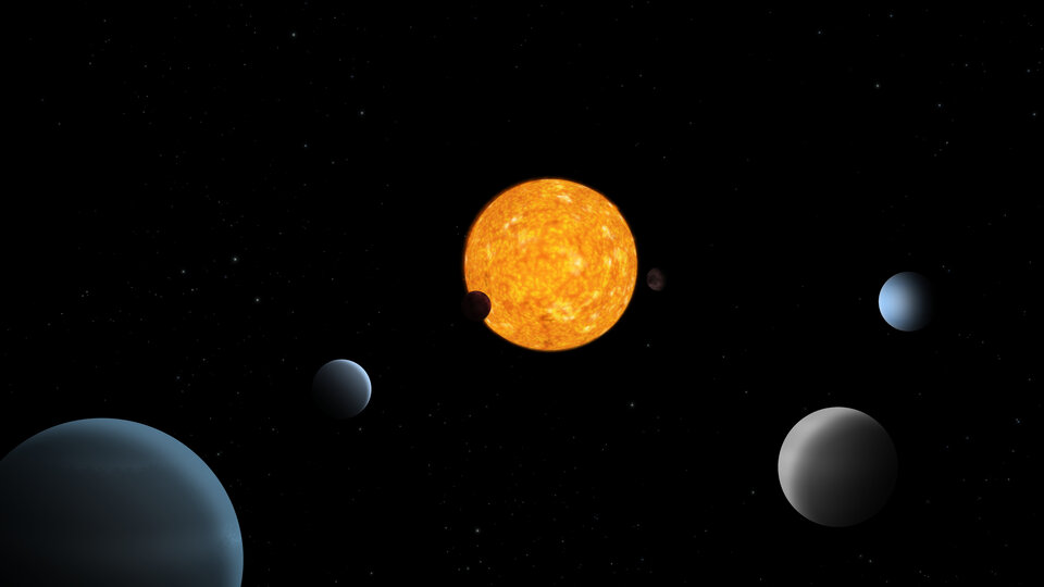 Artist impression of the TOI-178 planetary system