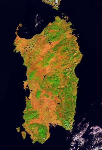 Sardinia, the second-largest island in the Mediterranean Sea, is featured in this false-colour image captured by the Copernicus Sentinel-2 mission.