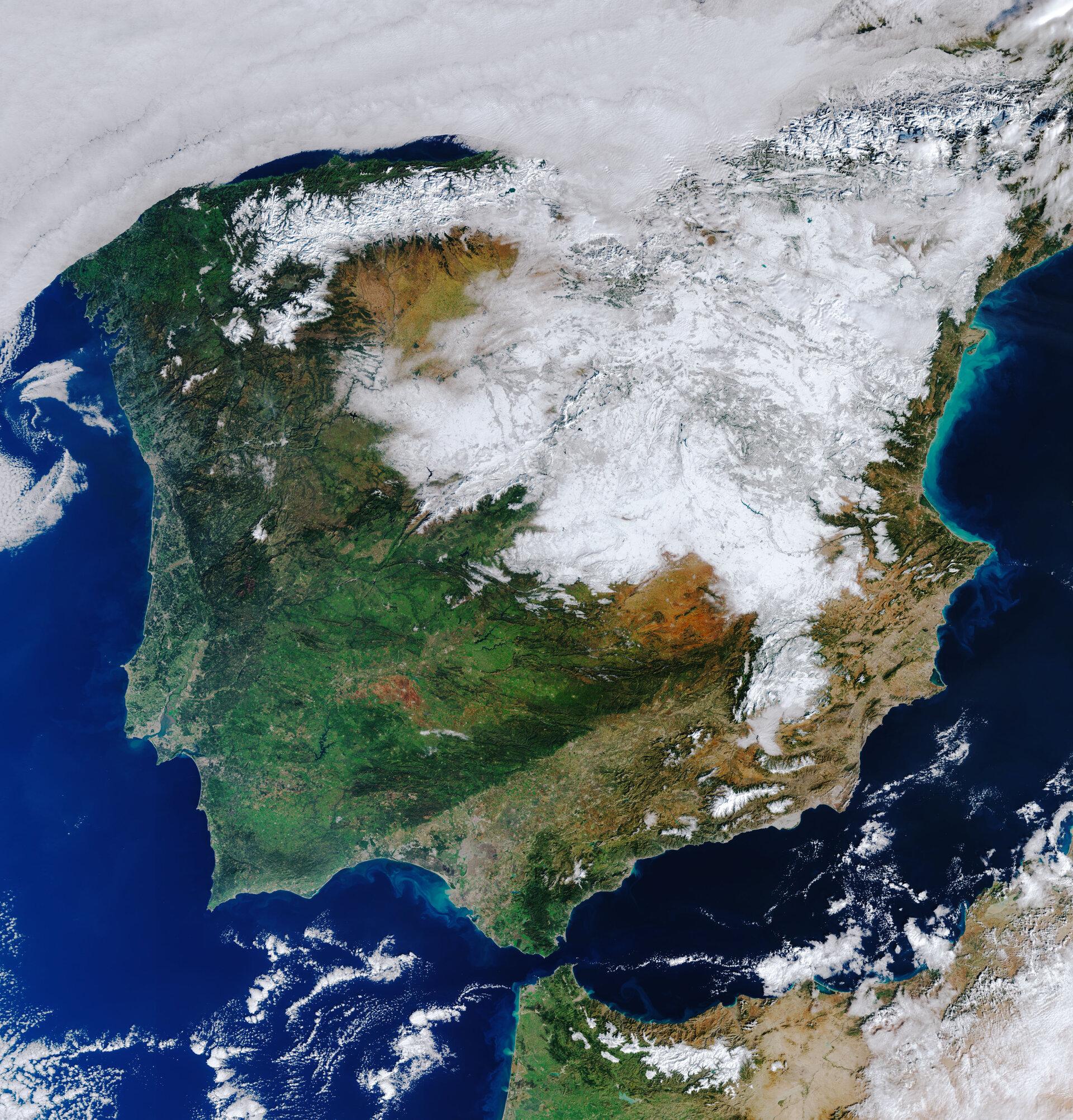 Neu de Filomena sobre Espanya, 12 de gener de 2021, satèl·lit Copernicus Sentinel-3, ESA