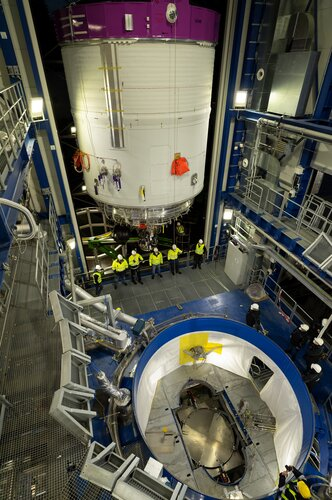 The Ariane 6 upper stage has been installed for tests at the DLR German Aerospace Center in Lampoldshausen, Germany