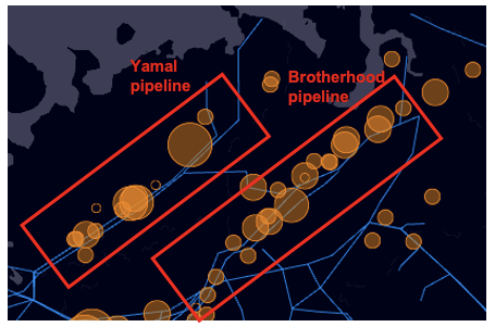 Emission hotspots from the Yamal-Europe and 'Brotherhood' pipelines