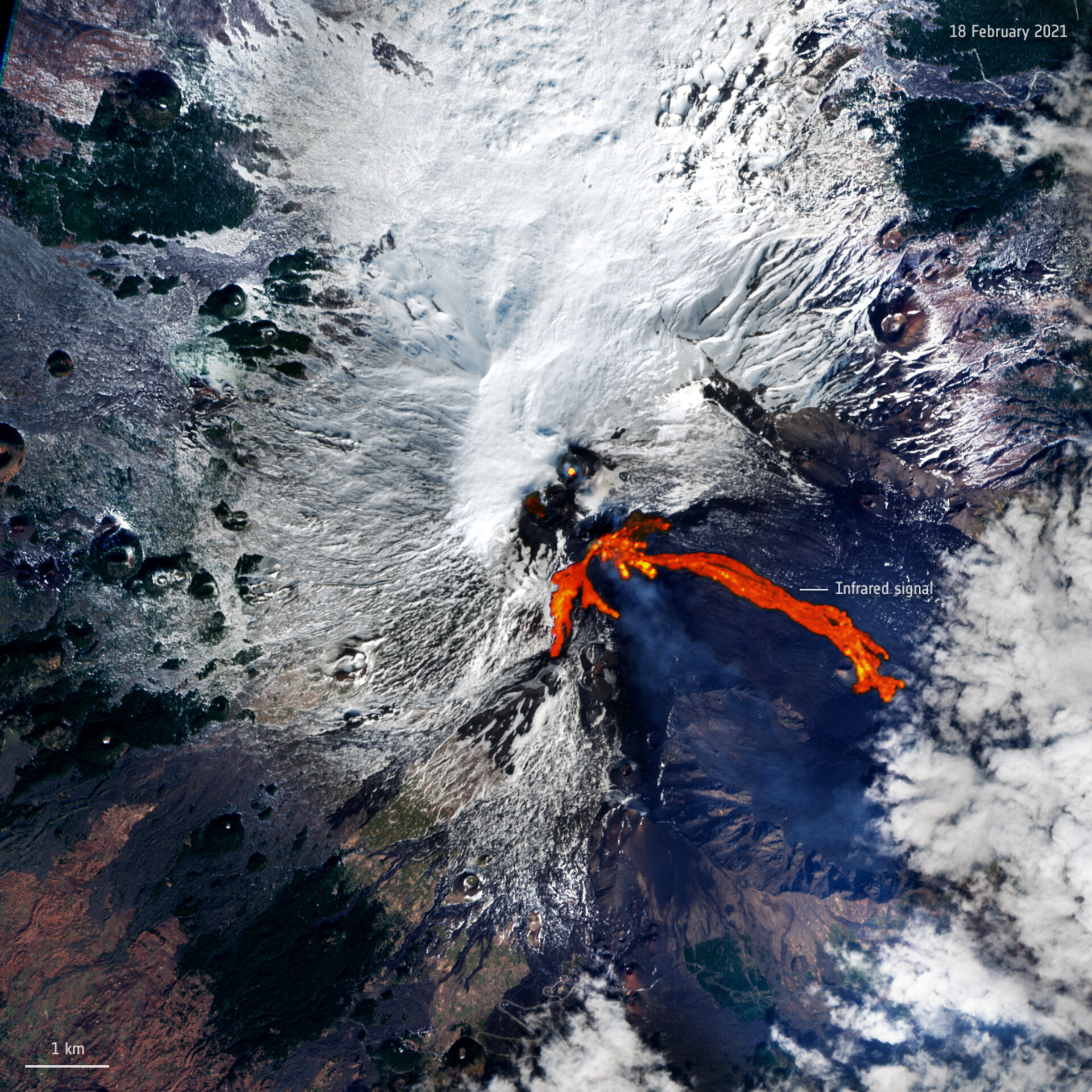 Italy's Mount Etna, one of the world's most active volcanoes, has erupted twice in less than 48 hours, spewing a fountain of lava and ash into the sky. This Copernicus Sentinel-2 image has been processed to show the lava flow in bright red.