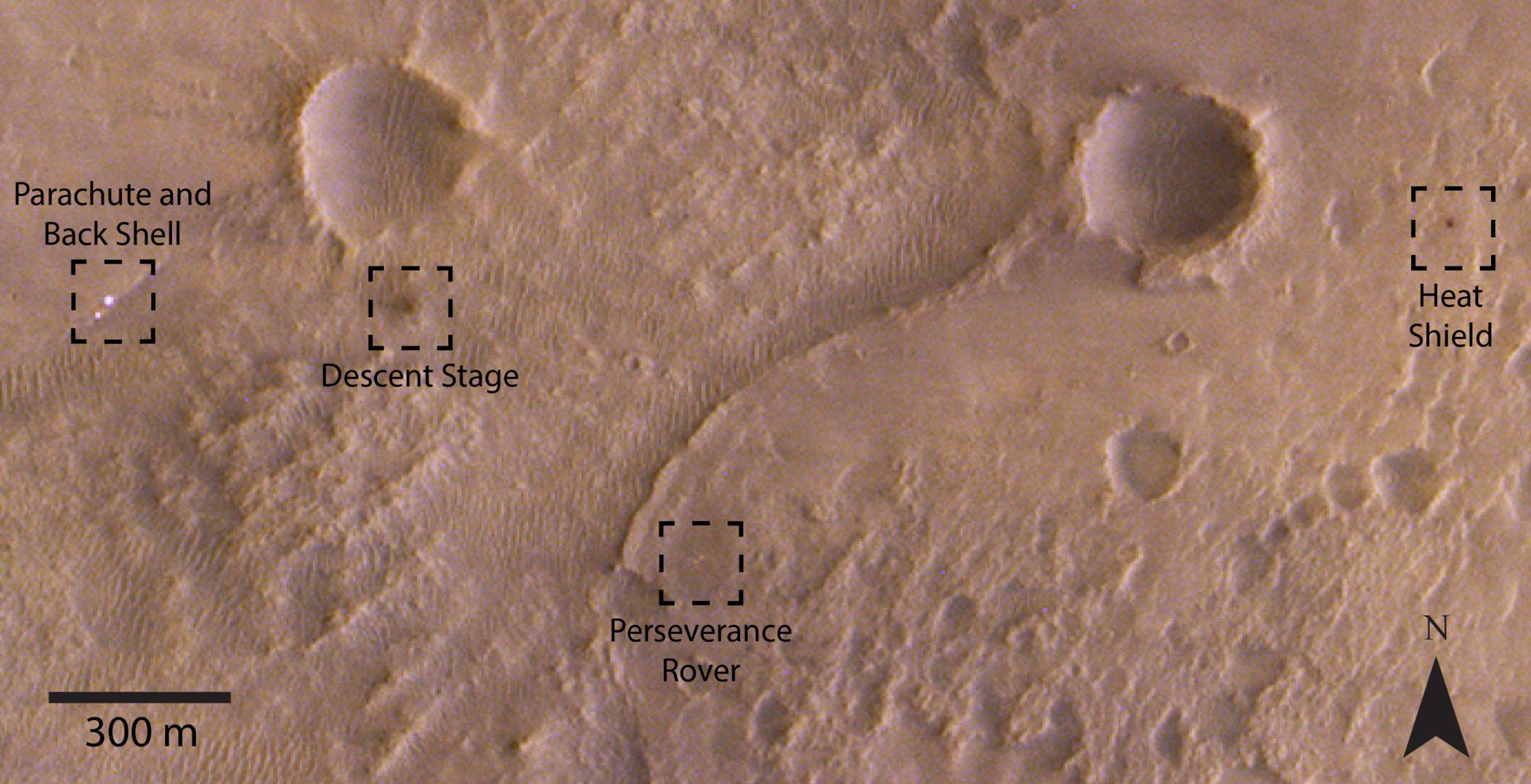 Evropská orbitální sonda TGO vyfotografovala místo přistání roveru Perseverance