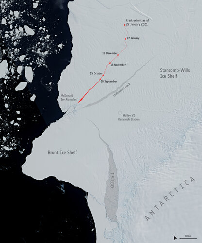 New crack in the Brunt Ice Shelf