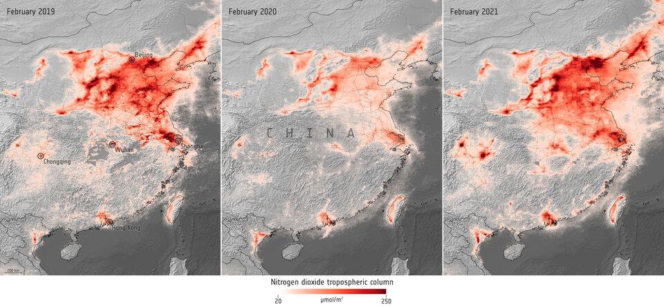 Concentraciones de dióxido de nitrógeno en China