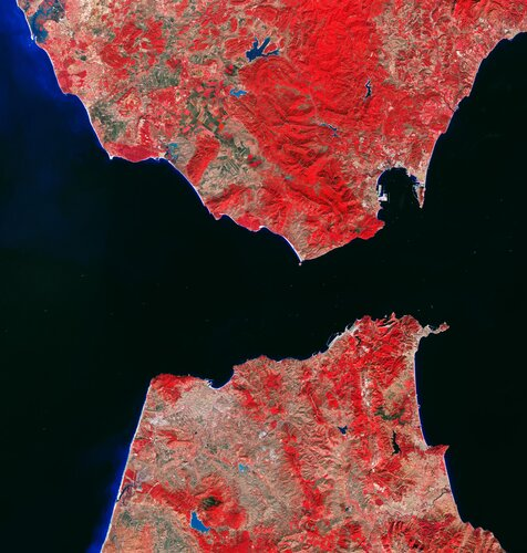 The Strait of Gibraltar is featured in this false-colour image captured by the Copernicus Sentinel-2 mission.