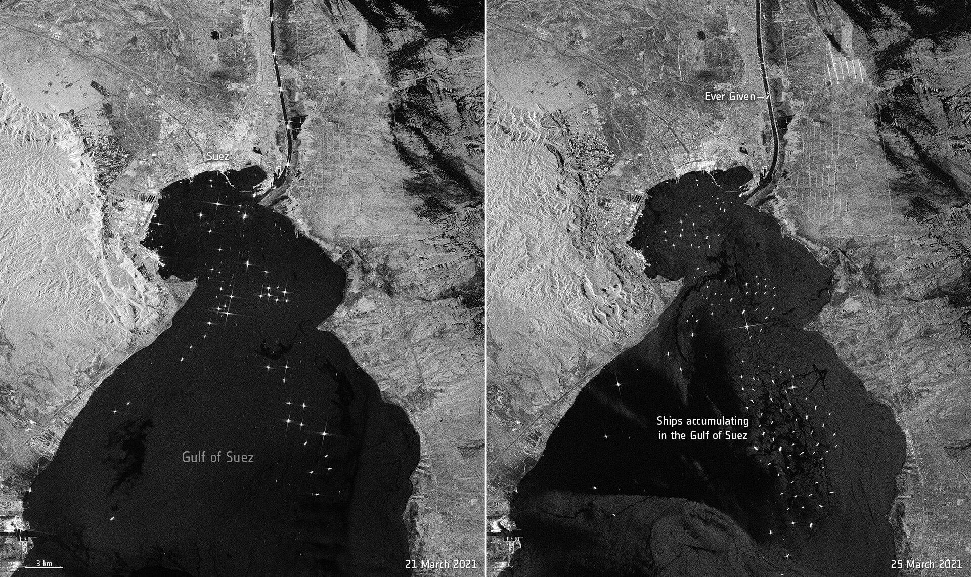 Immagini a confronto di Sentinel 1: prima e dopo l'incagliamento della portacontainer Ever Given Credits: ESA